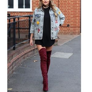 Qupid Burgundy Faux Suede Over-The-Knee Boots